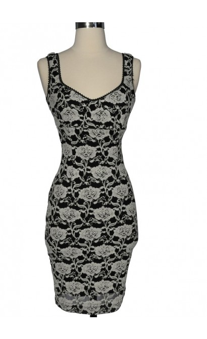Black and Ivory Rose Silhouette Pencil Dress