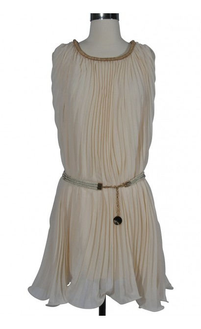 Cream of the Crop Pleated Chiffon Belted Dress