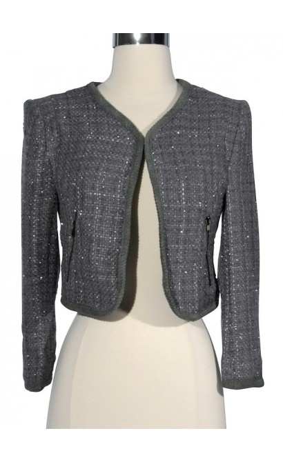 Hint of Sparkle Tweed Chanel Style Blazer in Grey