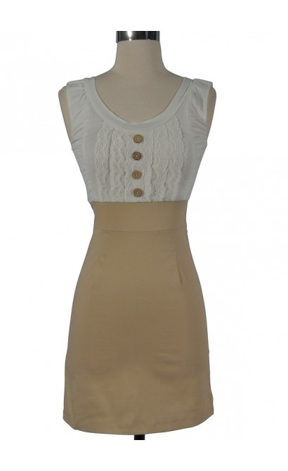 Perfectly Polished Two in One Dress in Beige
