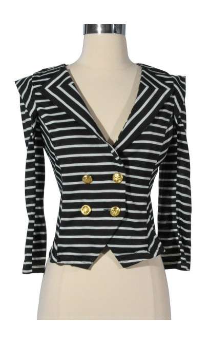 Black and White Stripe Crossover Blazer with Gold Buttons