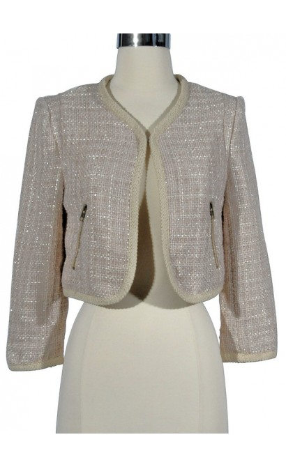 Hint of Sparkle Tweed Chanel Style Blazer in Beige