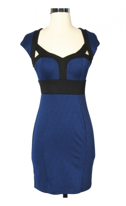Beyonce Inspired Bodycon Pencil Dress in Blue