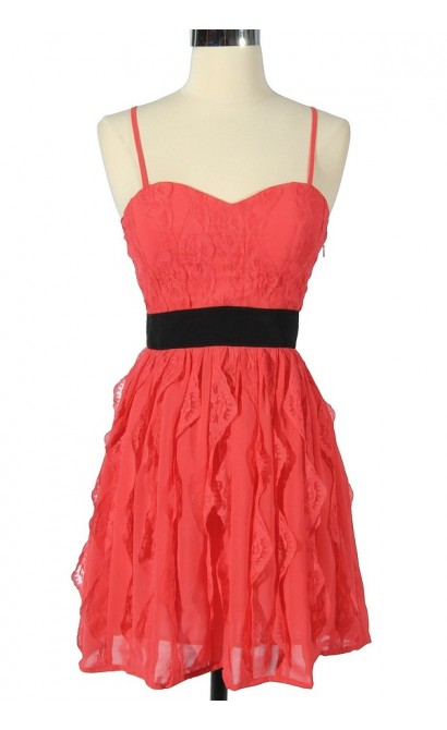 3-Dimensional Lace Coral and Black Designer Dress by Minuet