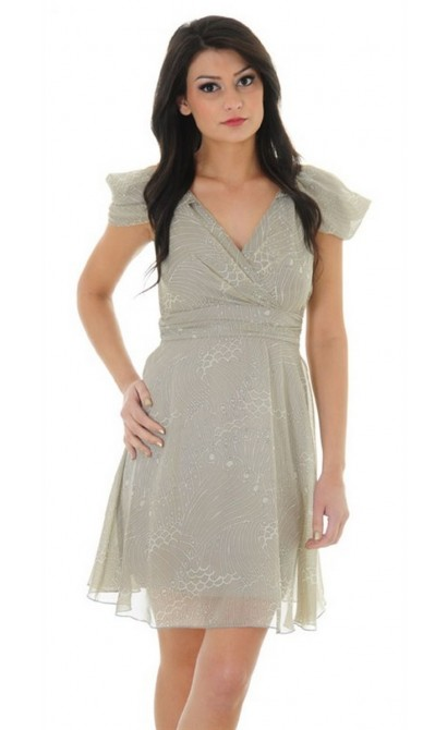 Pretty In Paisley Draped Shoulder Dress In Beige