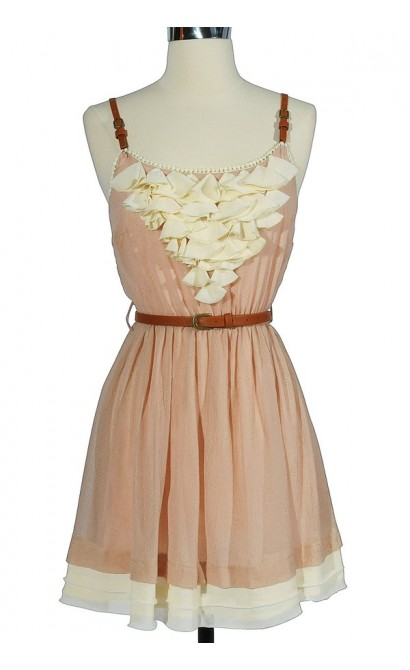 Country Whimsy Leather Belted Dress In Pink
