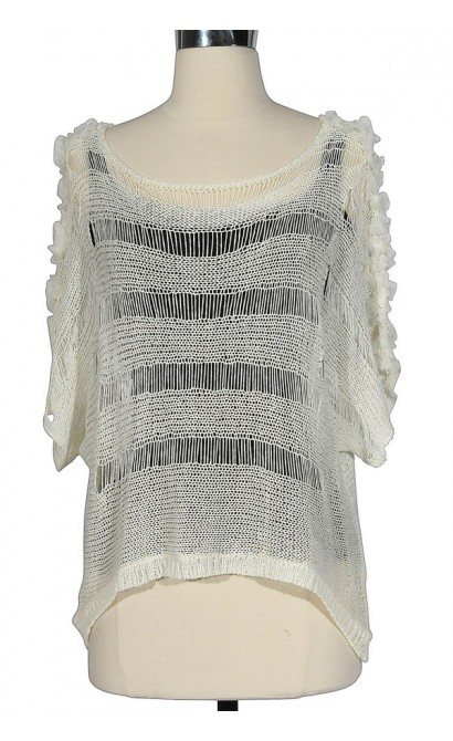 Sheer Open-Knit Sweater in Ivory