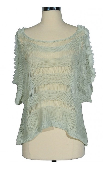 Sheer Open-Knit Sweater in Mint