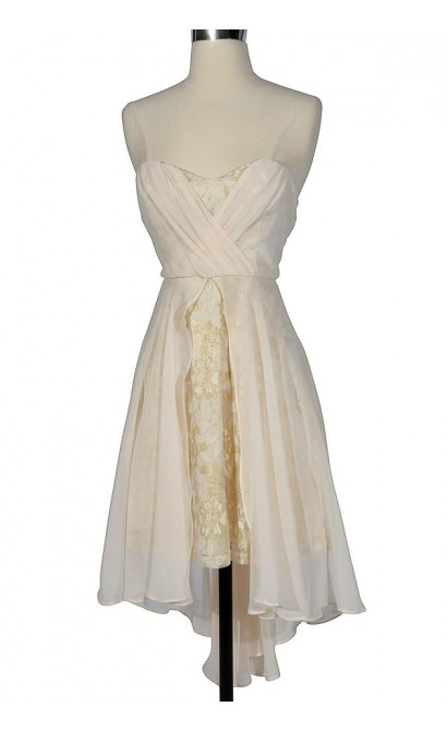 Midsummer Nights Dream Chiffon and Lace Designer Dress in Cream by Minuet