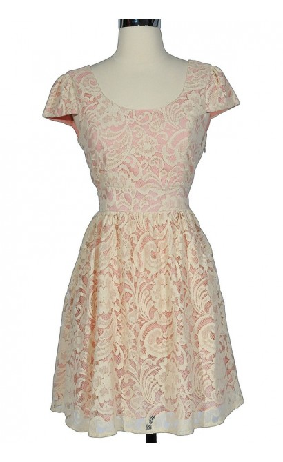 Pink and Cream Floral Lace Capsleeve Dress