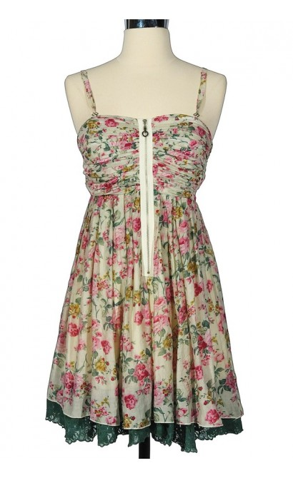 Summer Love Floral Print Dress in Sage