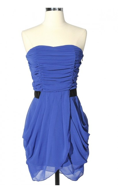 Shirred Contrast Waist Strapless Drape Dress in Royal Blue