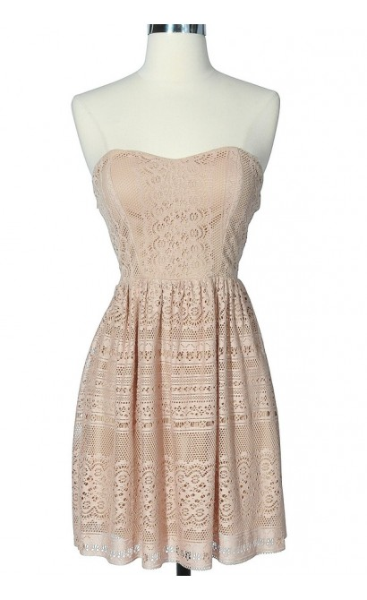 Taupe Cutout Lace Strapless Dress