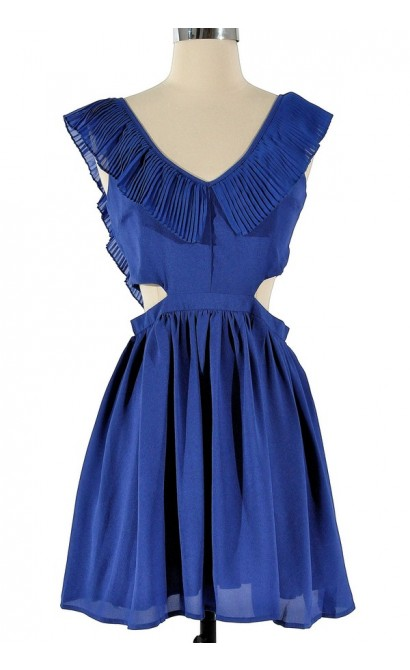Layla Cutout Ruffle Dress in Blue