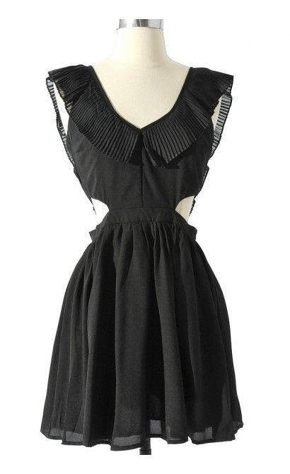 Layla Cutout Ruffle Dress in Black