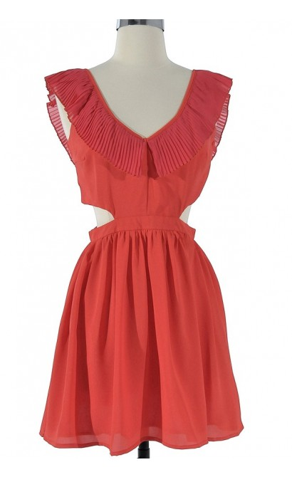 Layla Cutout Ruffle Dress in Red