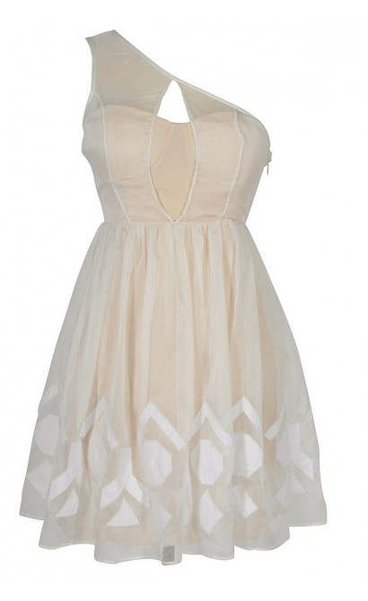 Ivory Mirage White Chiffon Overlay Designer Dress by Minuet