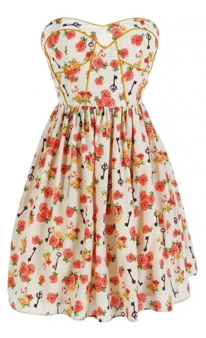 Key To My Heart Printed Designer Dress by Minuet in Cream