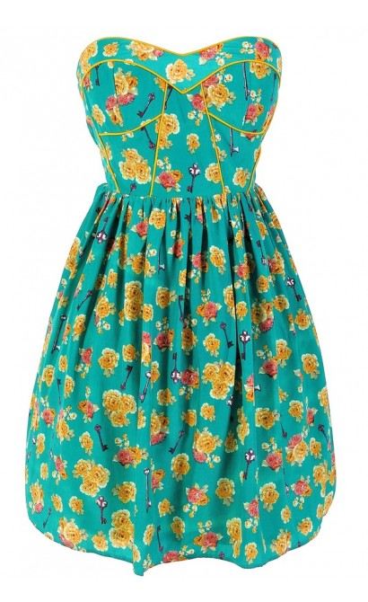 Key To My Heart Printed Designer Dress by Minuet in Teal