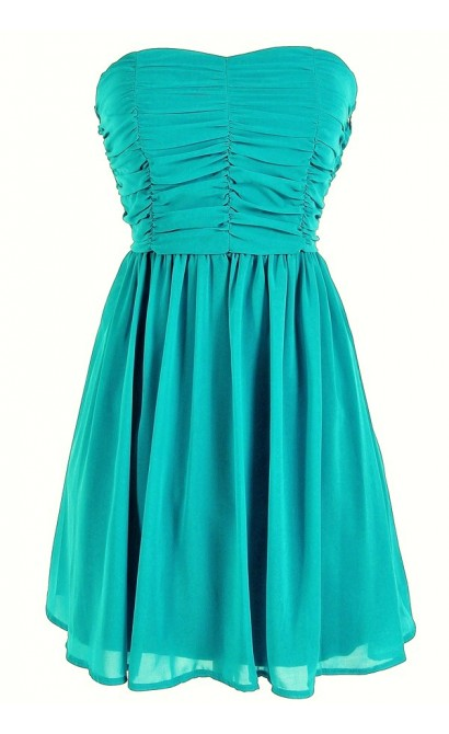 Shirred Chiffon Strapless Party Dress in Turquoise