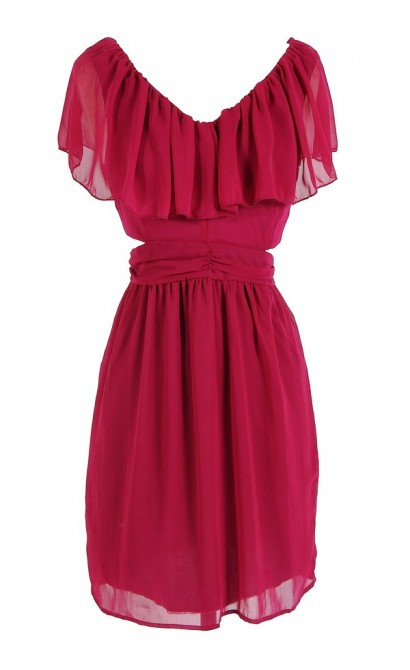 Slit Side Ruffle Dress in Magenta