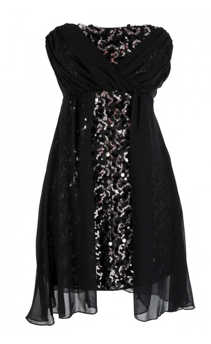 Sequin and Chiffon Overlay Black Strapless Dress