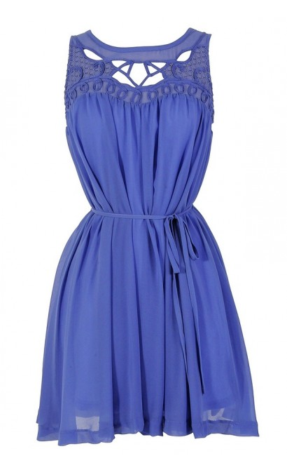 Cutout Chiffon Dress in Periwinkle