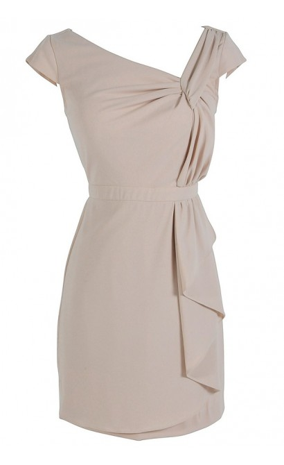 Capsleeve Twist Designer Dress by Minuet in Cream