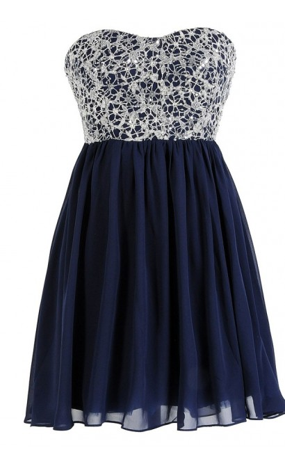 Stars In The Sky Sequin Lace Overlay Designer Dress by Minuet in Navy