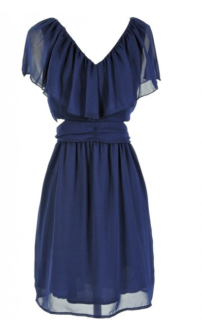 Slit Side Ruffle Dress in Navy