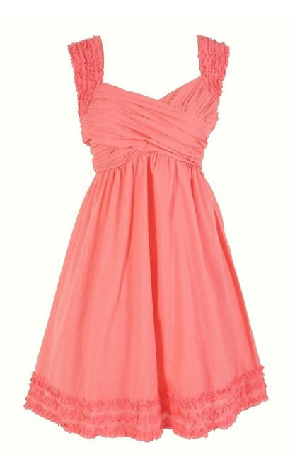 McKenzie Pleated Cotton Dress in Pink