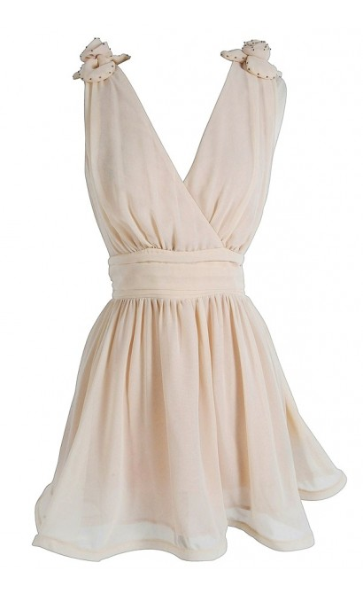 Monroe Floral Shoulder Dress in Cream