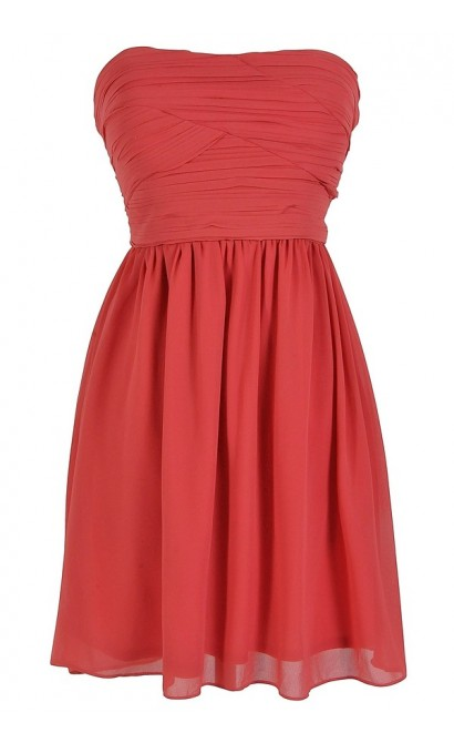 Pleated Chiffon Strapless Dress in Rust Coral