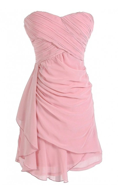 Draped Chiffon Dress in Rose
