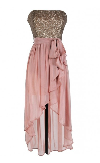 Pink And Gold High Low Dress Pink And Gold Sequin Dress
