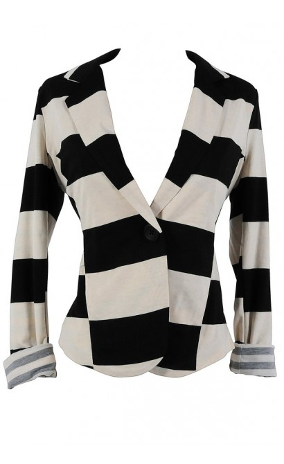 Bold Cream and Black Stripe Blazer