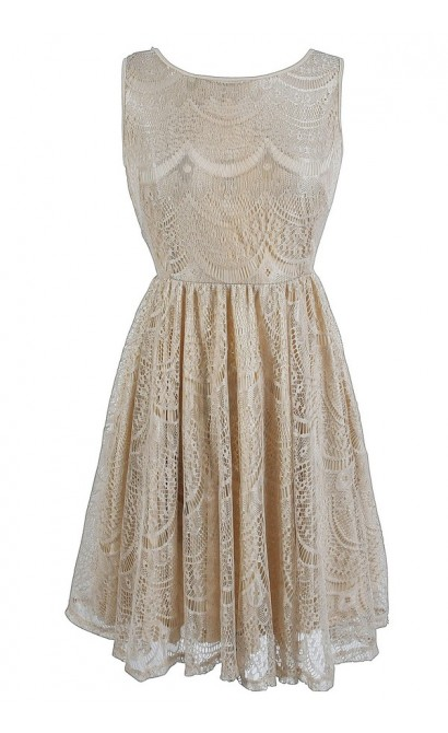 Glowing Beauty Sleeveless Metallic Lace Dress in Pale Gold