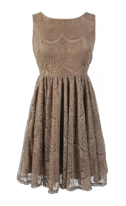 Glowing Beauty Sleeveless Metallic Lace Dress in Mocha