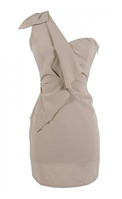 One Shoulder Ruffle Detail Pencil Dress