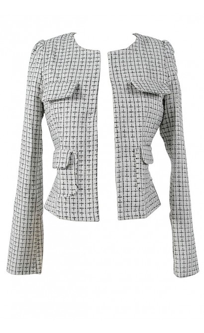 ff3983d69b11 Chic Black and Ivory Chanel Inspired Blazer Lily Boutique