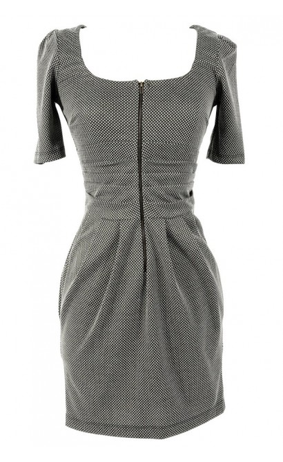 Fall Affair Pattern Zip Front Dress