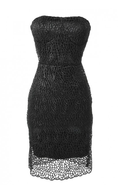Strapless Bustier Web Lace Overlay Dress in Black