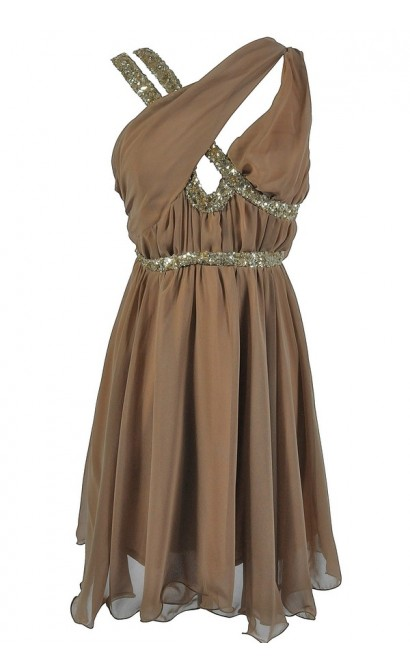 Asymmetrical Chiffon and Sequin Party Dress in Gold