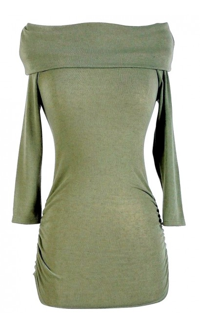 Off Shoulder Sweater in Olive Green