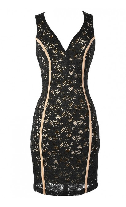 Black and Beige Lace Dress with Fabric Piping