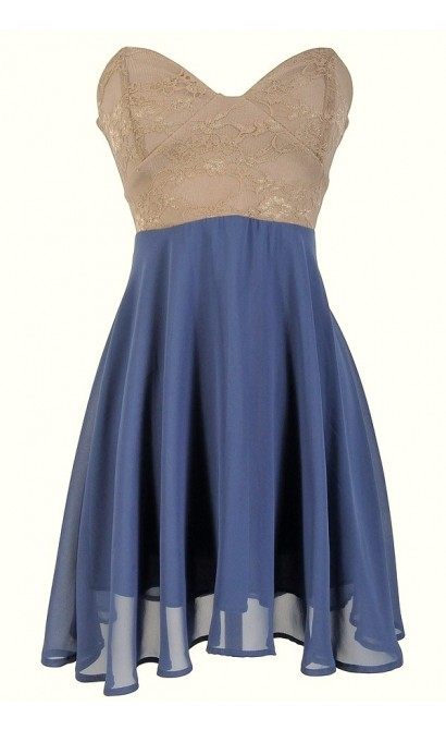 Strapless Floral Lace Bustier Dress in Beige/Indigo