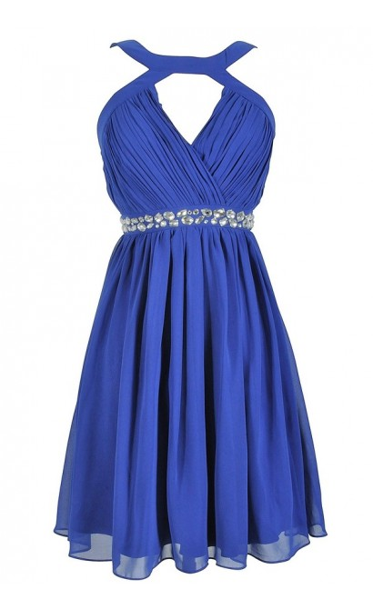 Embellished Pleated Chiffon Designer Dress by Minuet in Royal Blue