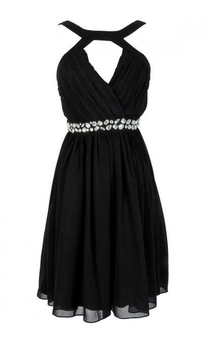 Embellished Pleated Chiffon Designer Dress by Minuet in Black