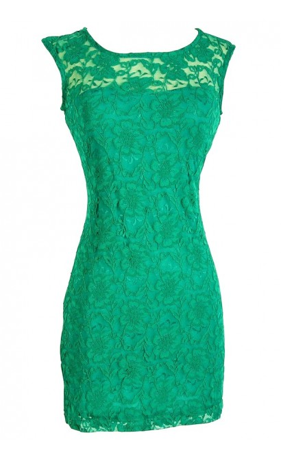Bold Floral Lace Fitted Dress in Bright Green