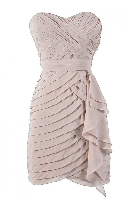 Tiered Strapless Chiffon Designer Dress by Minuet in Champagne